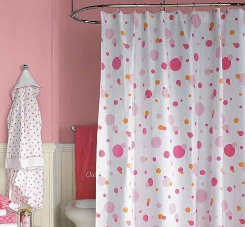 Polyester print shower curtain