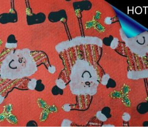 Santa Claus Metallic Printed Satin Fabric for Decoration