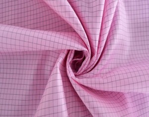 Anti-static grid taffeta fabric