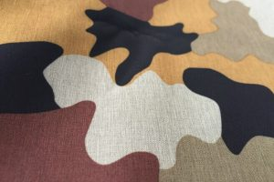 Polyester two tone cationic yarn 4 way stretch fabric camouflage printed