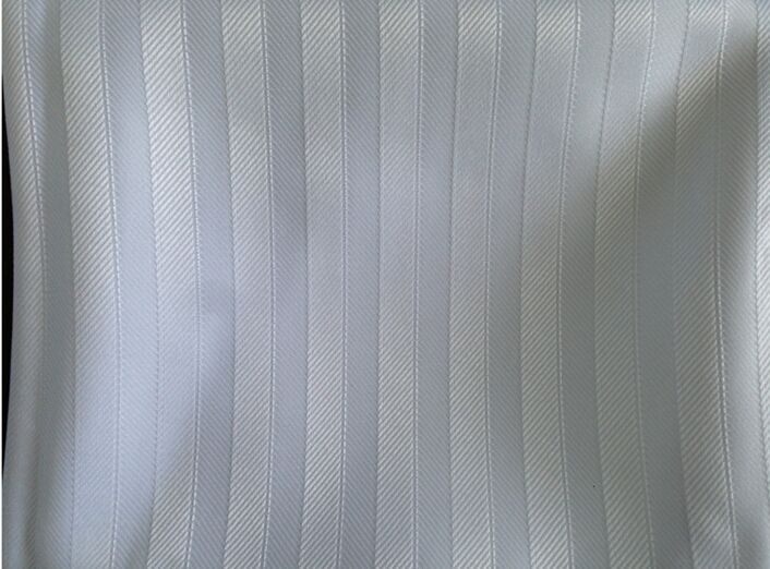 Polyester stripe fabric with rot proof finishing for shower curtain